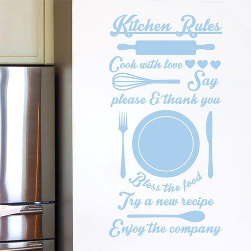 East Urban Home Kitchen Rules Cook with Love Try a New Recipe Wall Sticker #kitchenrules Kitchen Rules Cook with Love Try a New Recipe Wall Sticker Cut It Out Wall Stickers Colour: Light Blue #kitchenrules