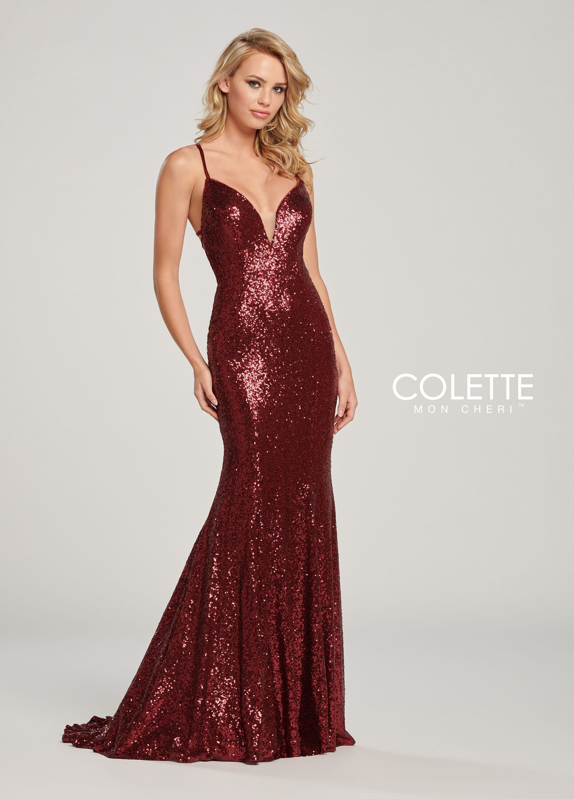 056da92d1004 Colette for Mon Cheri CL19830 - Sleeveless sequin fit and flare gown with  deep illusion v-neck, crisscross lace up open back, small train
