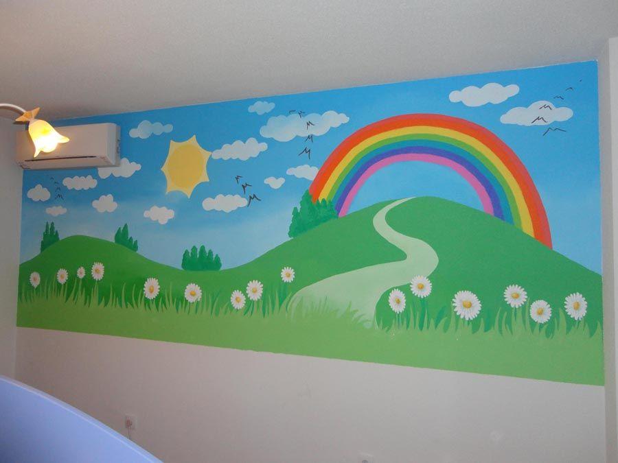 Mural Arcoiris Murales Pintados Mural Infantil Decoraciones De