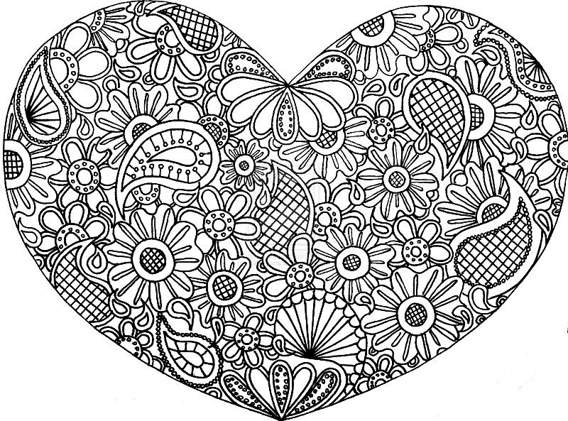 Hearts aand paisley zentangle coloring sheet print out coloring - copy coloring pages with hearts and flowers