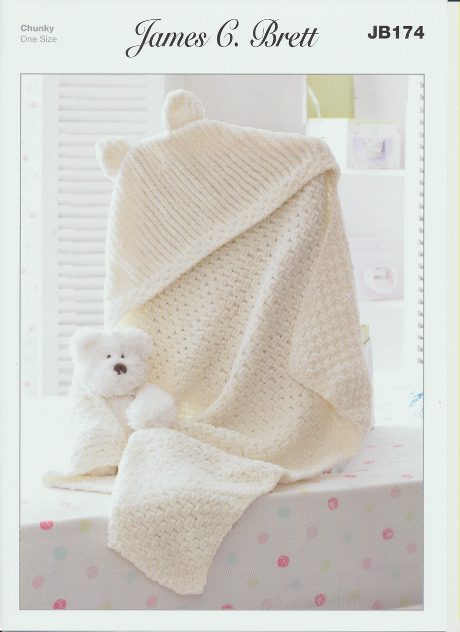James C. Brett Knitting Pattern Hooded Blanket in Flutterby Chunky ...