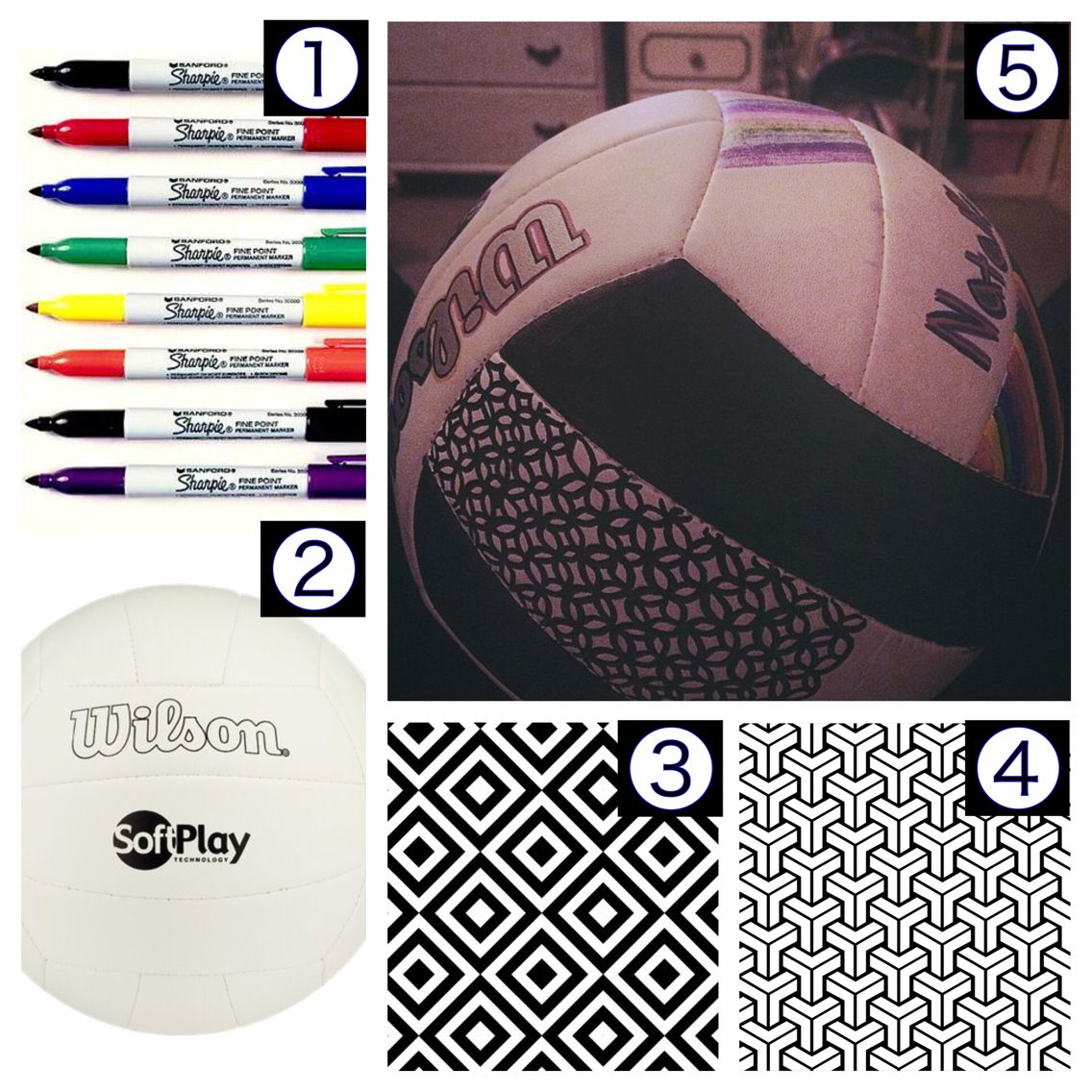 10 Sharpies From Walmart A White Volleyball And Some Patterns I Did This Free Hand You Could Create A St Sharpie Designs Volleyball Crafts Team Activities