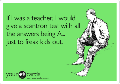 as a test taker I would doubt myself the entire time!!!