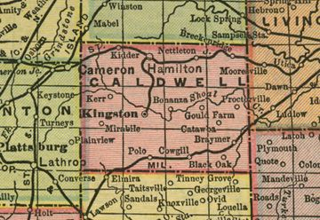 Early Map Of Caldwell County Missouri Including Kingston - Missouri breweries map