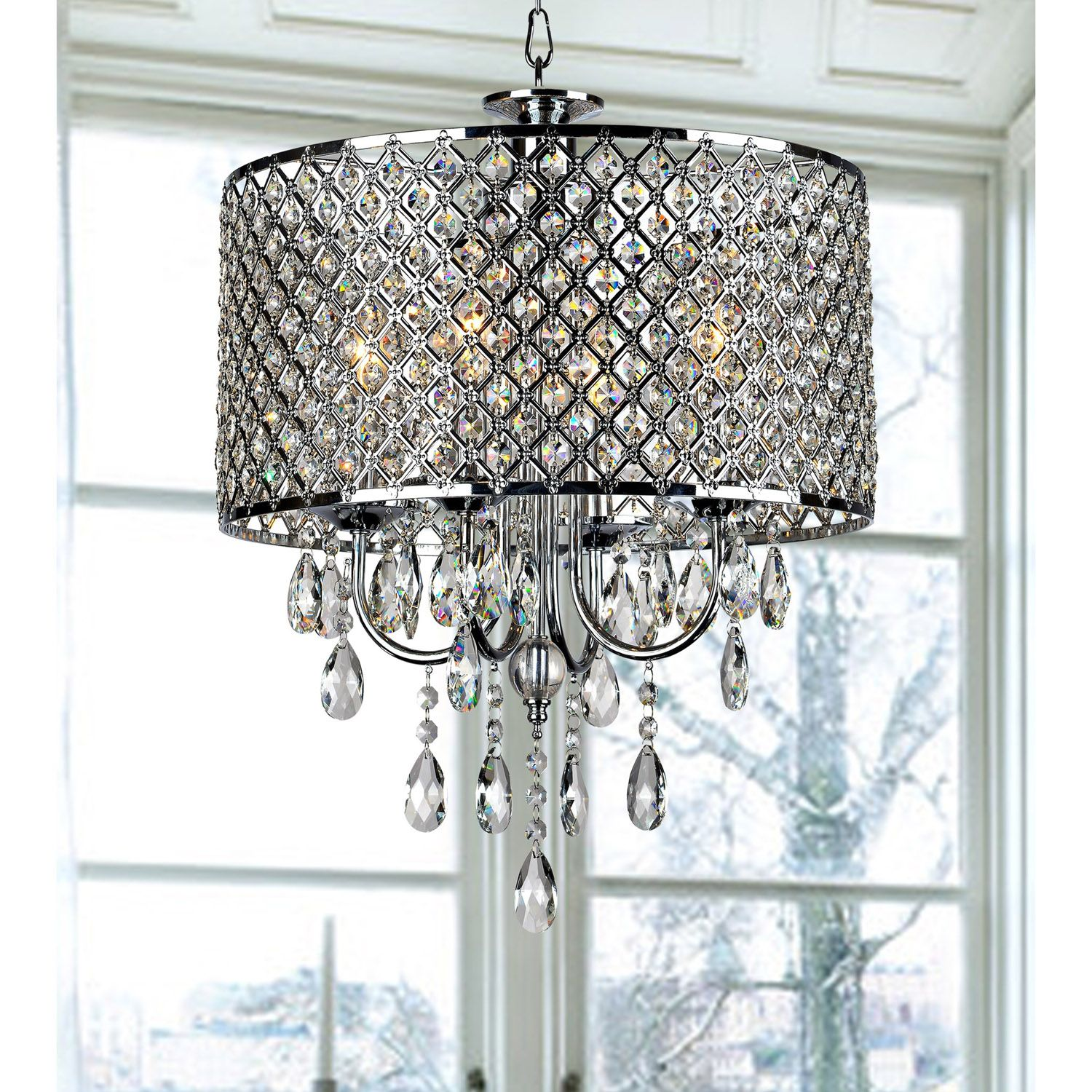 In stock drum chrome round chandelier crystal modern 4 lights in stock drum chrome round chandelier crystal modern 4 lights pendant lamp lighting roomsparkle as diamonds arubaitofo Images