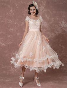 tea length backless reception dress