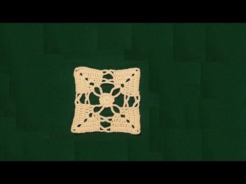 """Piastrella all'uncinetto """"anelli e archetti"""" -   crochet granny square t..."""