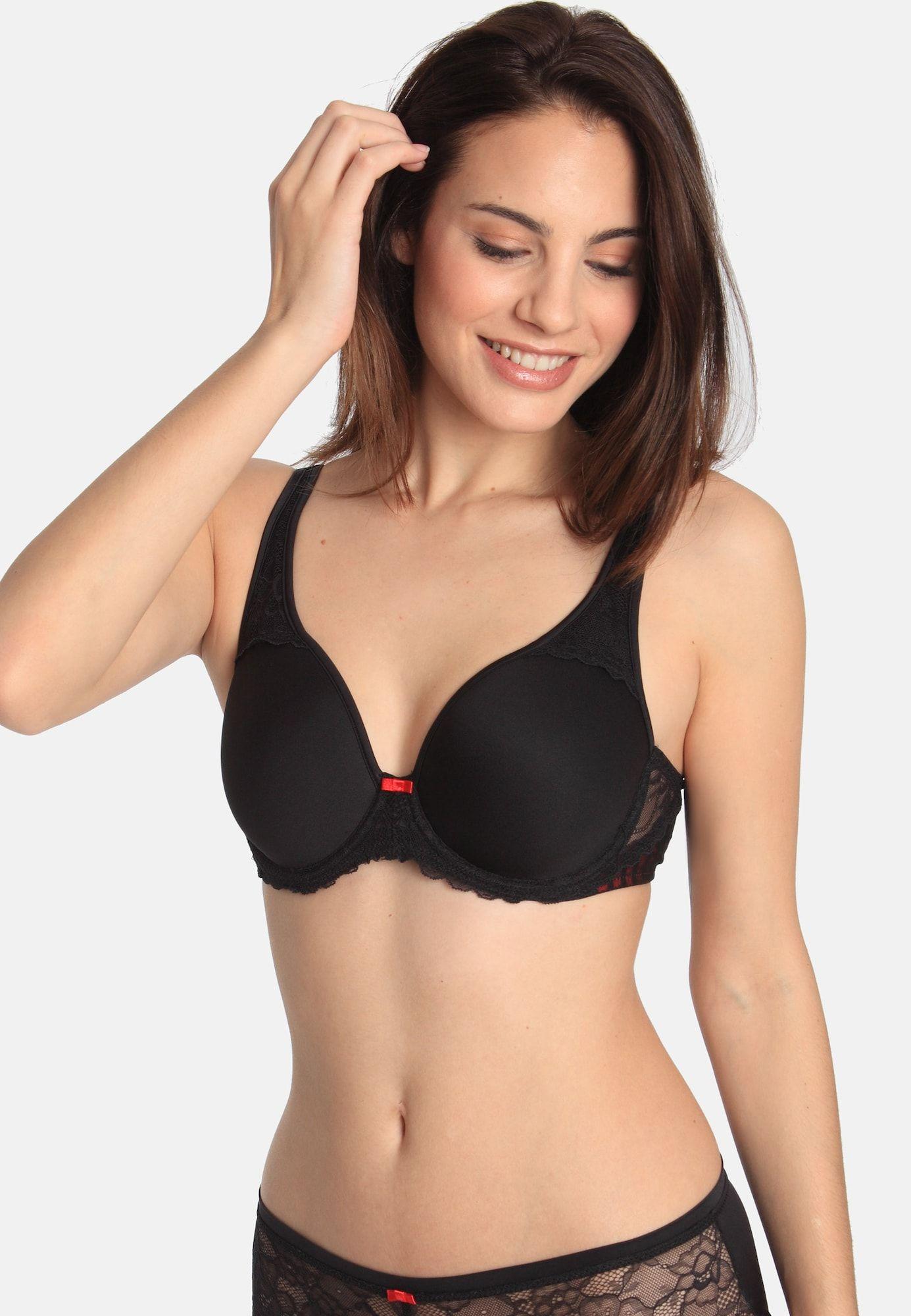 Sassa bra 'TRANSPARENT STRIPE' ladies, pink melange / black, size 90 D
