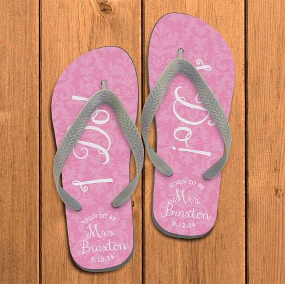 9865d465e80b3 I Do Damask Personalized Flip Flops Bride by PaperSoPrettyGifts ...