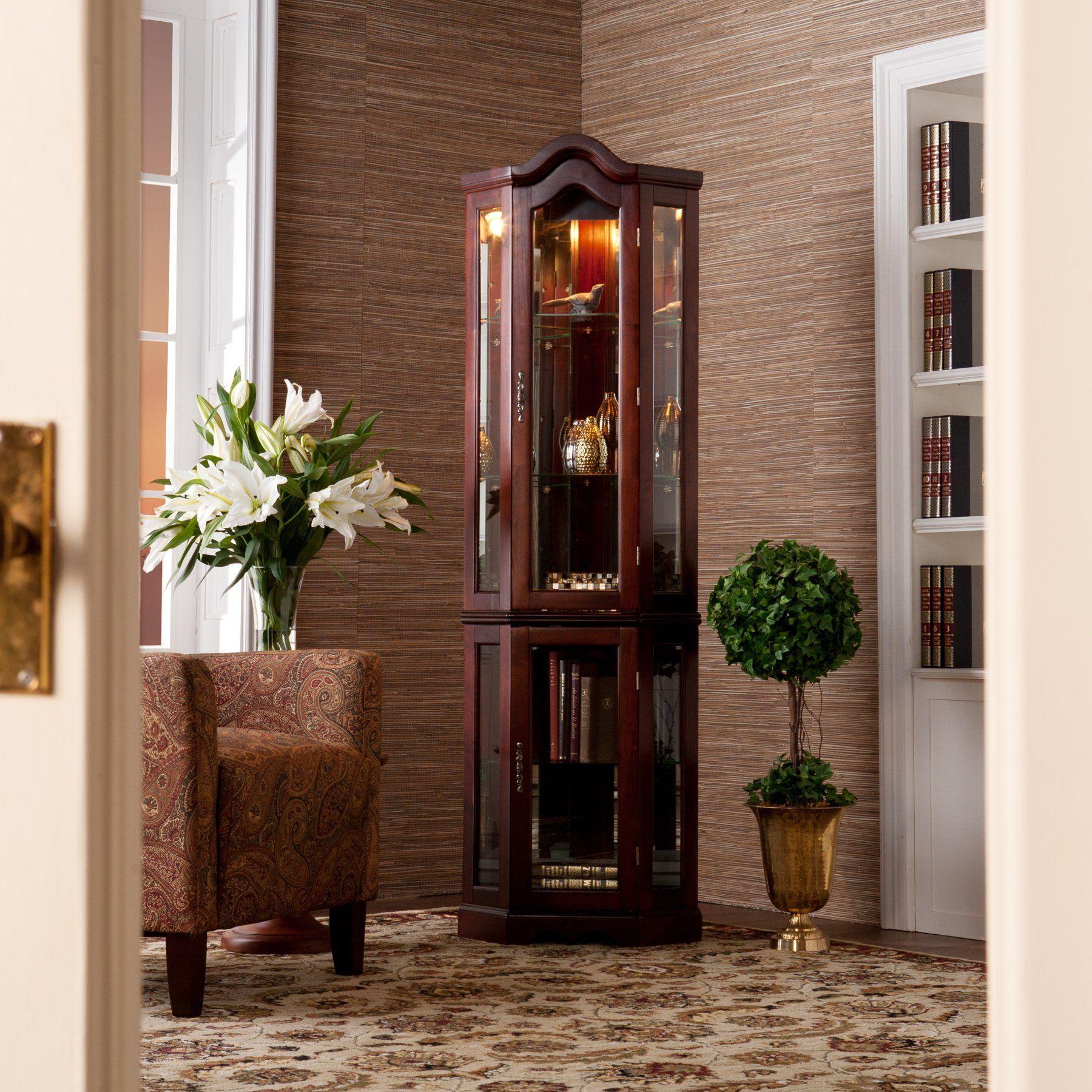 Solid Wood Corner Curio Cabinet With Light Mahogany Finish