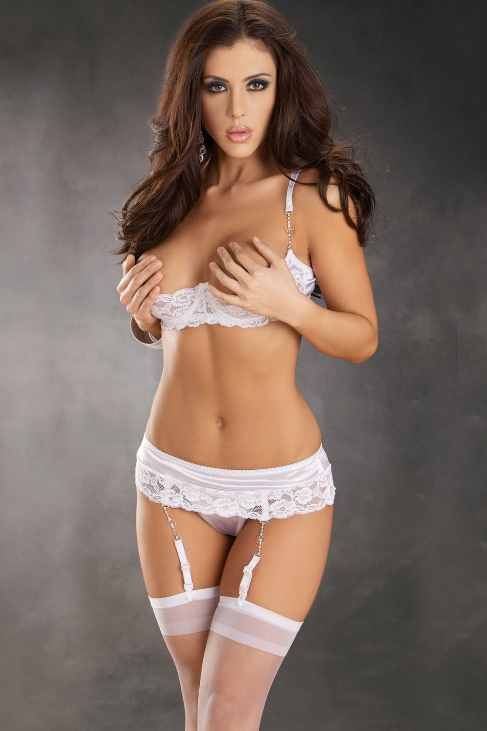 098adc98f79 Honeymoon Surprise Set - Stretch satin and lace trim underwire shelf bra  with adjustable straps and hook-n-eye back. Matching lace up back  garterbelt