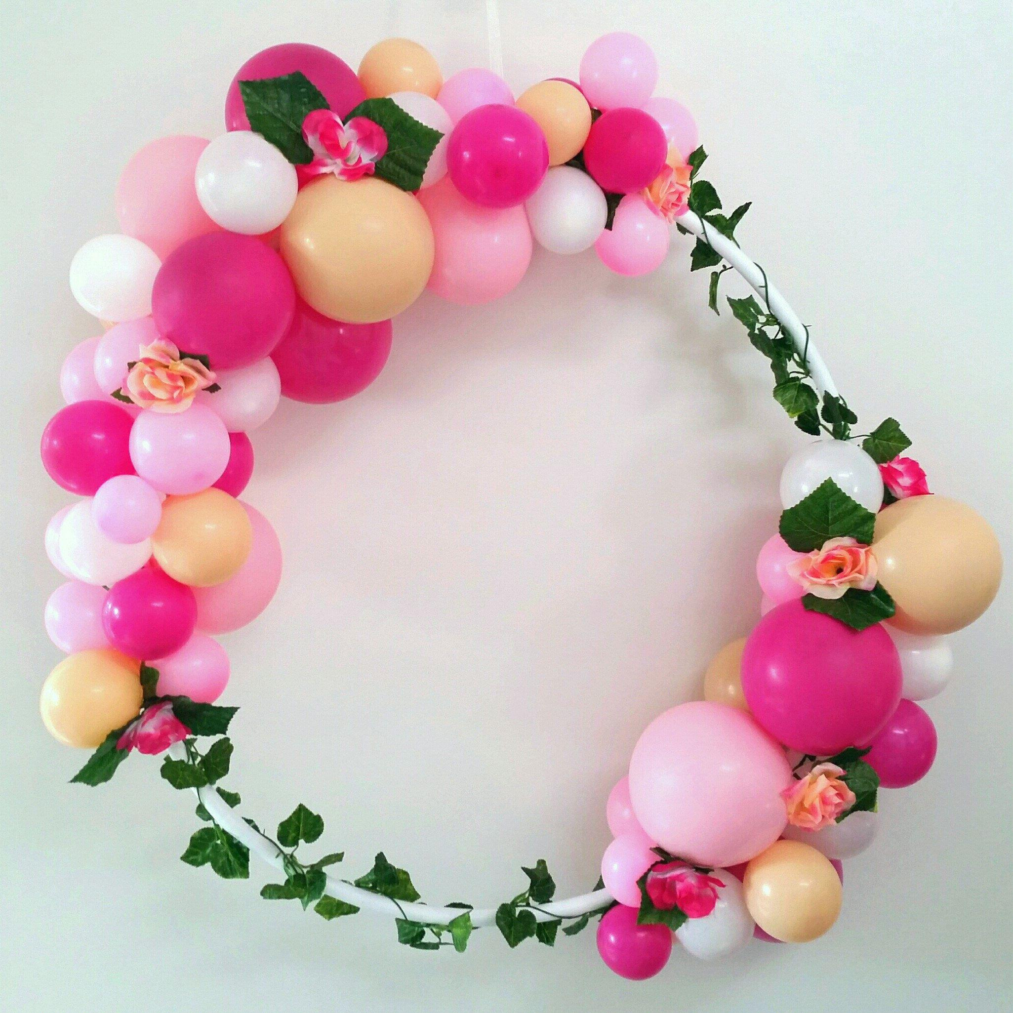 Balloon frame garland wreath hula hoop diy kit magenta pink nude decoracin new diy kit solutioingenieria Images