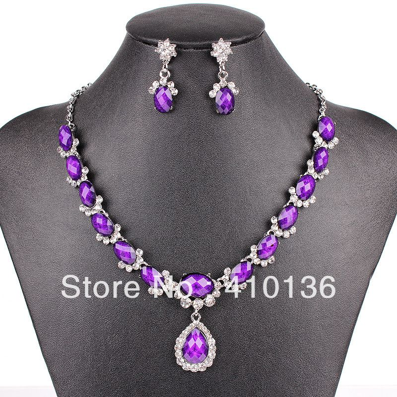 PN12534 Fashion Purple Jewelry Sets Wedding Jewelry Silver Plated ...