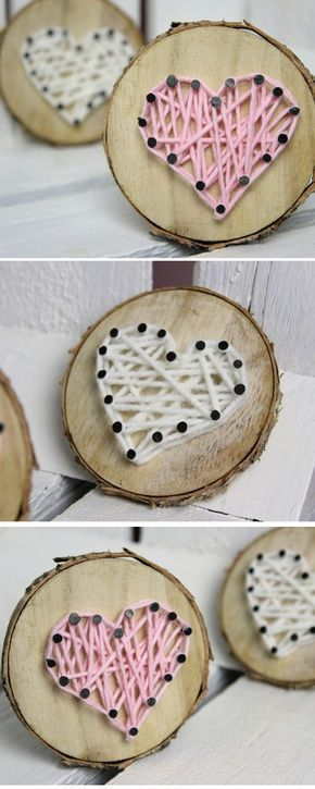 Photo of DIY gift for Valentine's Day, tree disc with wool heart + instructions: DIY, crafts …