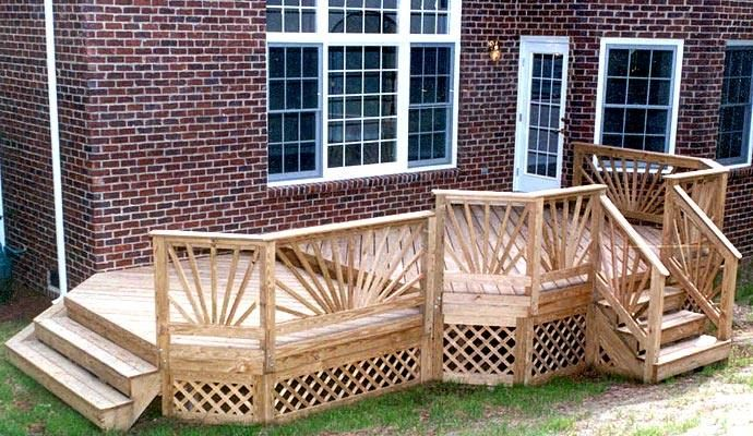 Railing Options. Multilevel Decks. Two Level Deck With Double Stairs And  Sunburst Rails