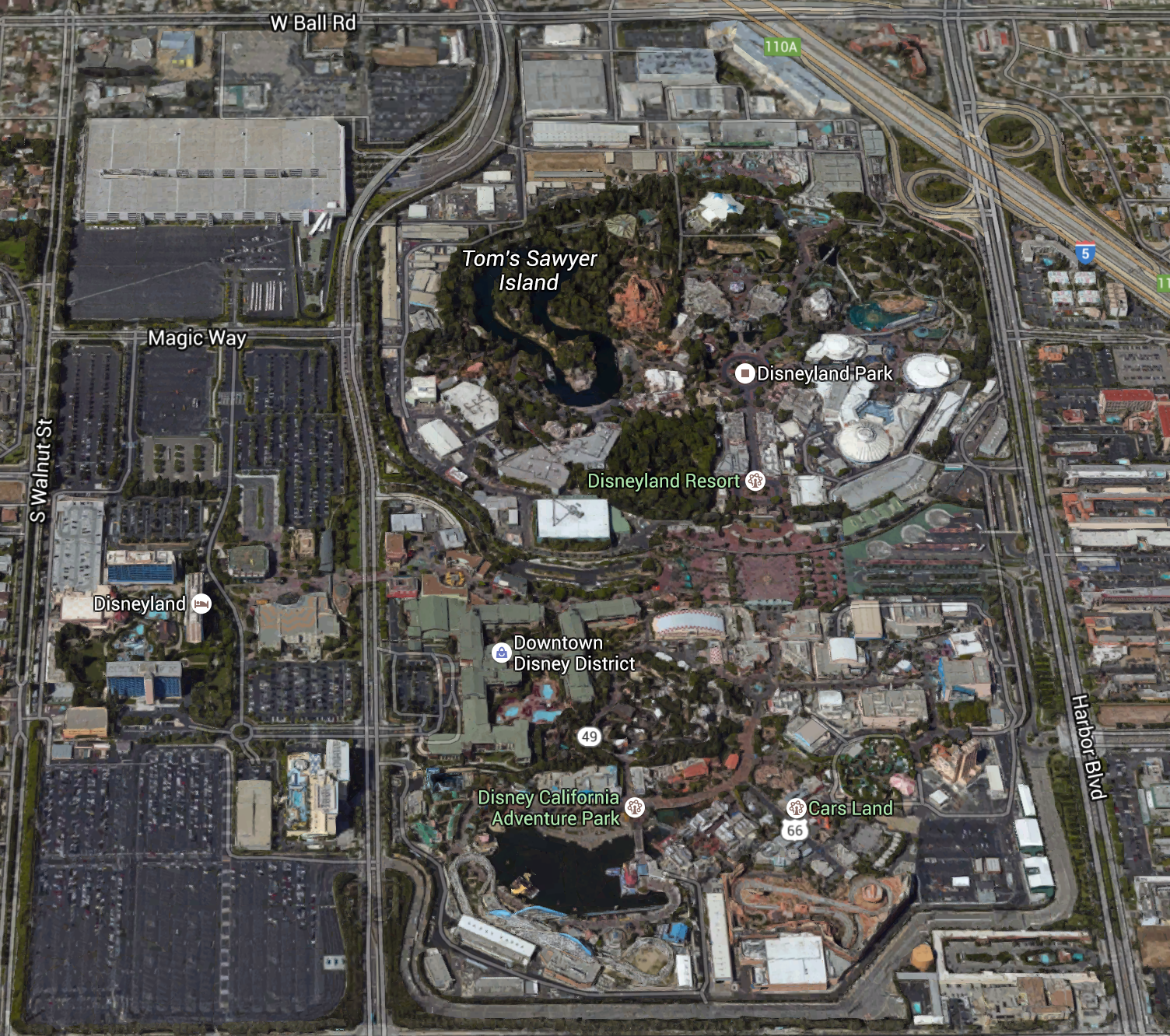 California Map Disney%0A Free Aerial Satellite View   Satellite View of Disneyland Resort and  Surrounding Anaheim California   Panoramic   Pinterest   Anaheim california   Disneyland
