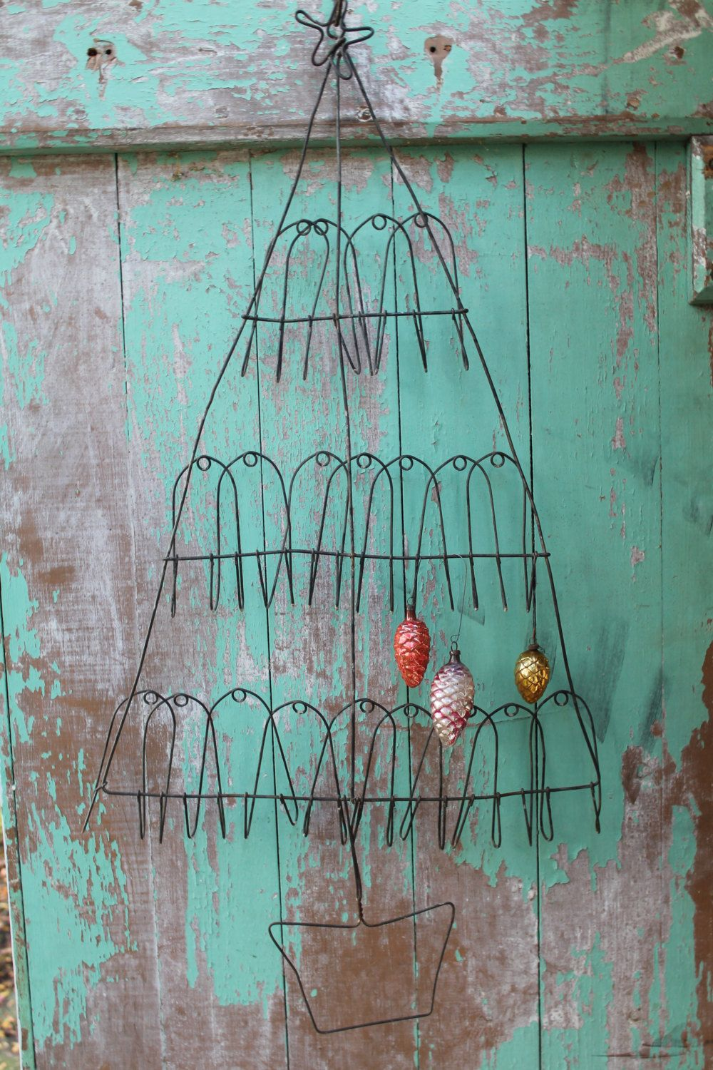 Rare Primitive Antique Bent Wire Metal Christmas Tree // Wall ...