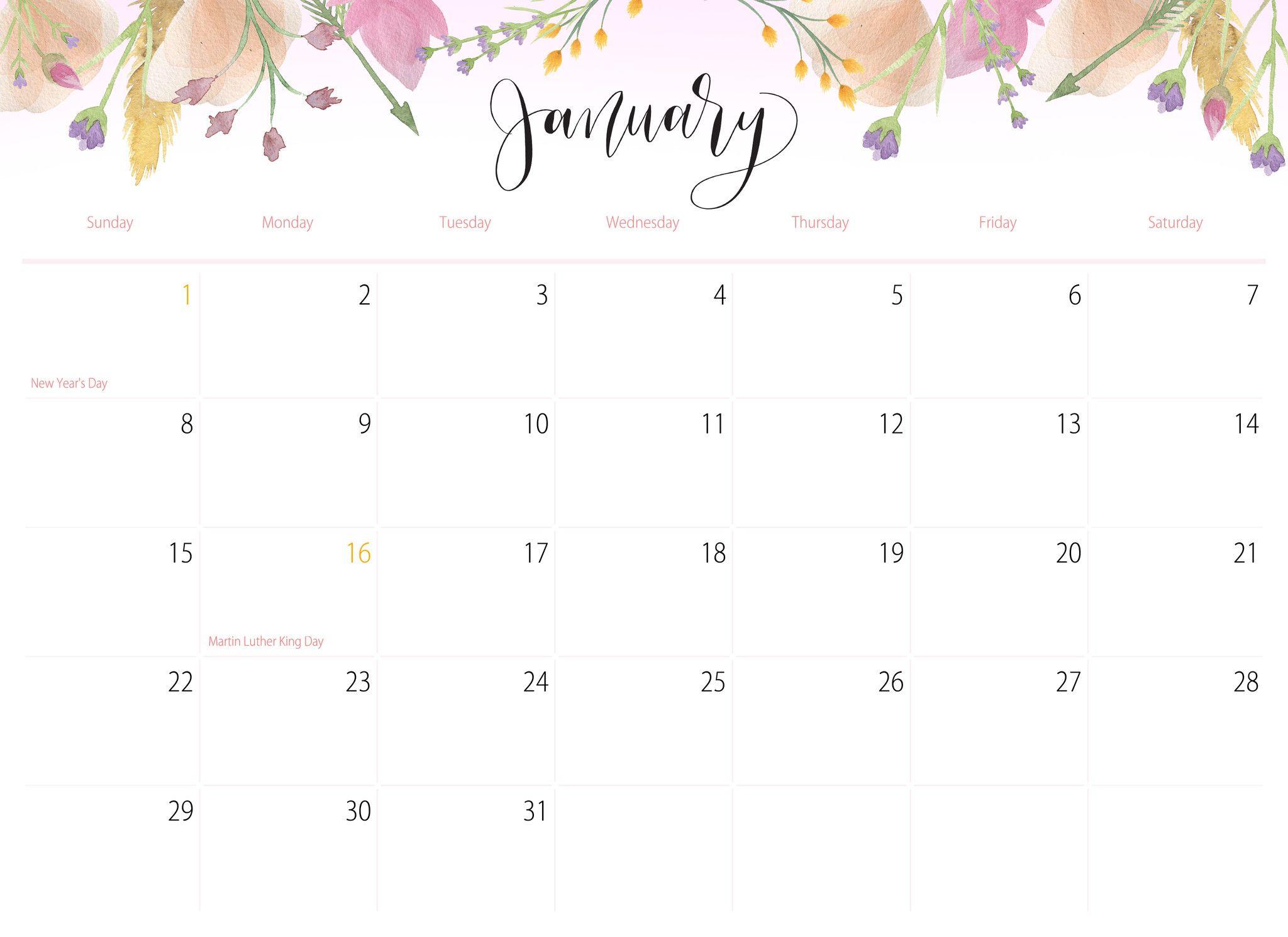 2017 Floral Printable Calendar January Calendar Cute Calendar