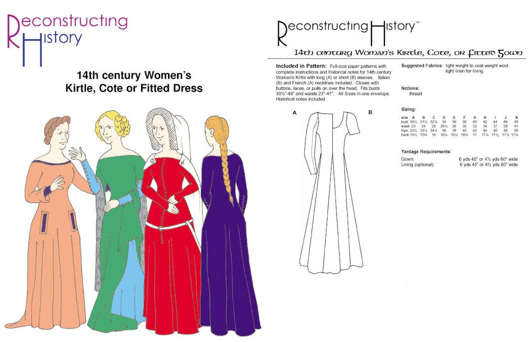 14th Century Womens Kirtle or Cotehardie Pattern | DIY