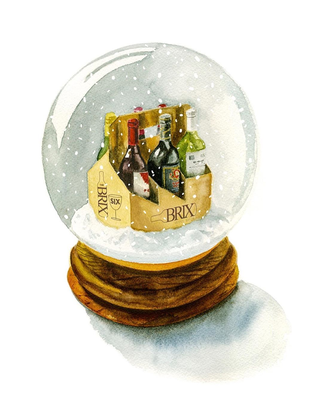 """Holiday watercolor illustration for @brixwineshop. #watercolorillustration #snowglobe #holidaygift…"""""""