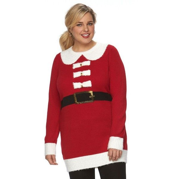 3e5a7ec74bf Plus Size US Sweaters Holiday Crewneck Sweater Tunic ( 37) ❤ liked on  Polyvore featuring tops