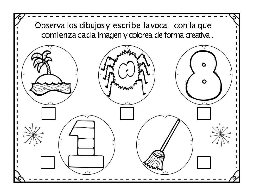 Conciencia Fonológica De Las Vocales Reconoce Y Colorea
