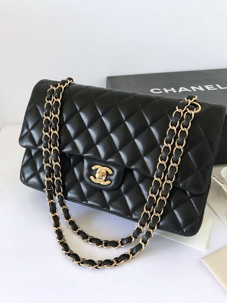 0fb191aef6b8 Chanel Black Lambskin Medium Classic Double Flap With Gold Hardware  CHANEL   chanelhandbags
