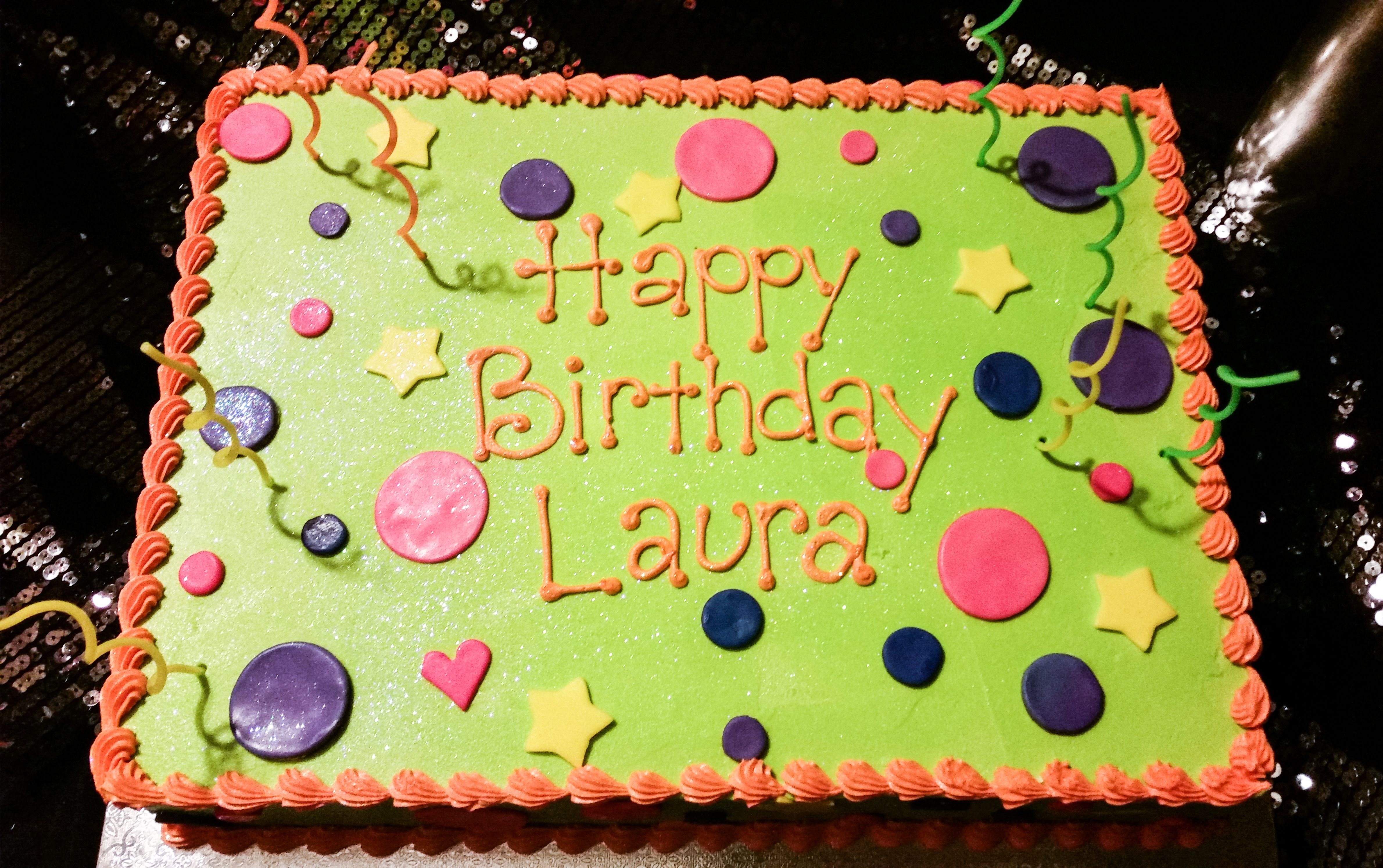 80s Themed Simple Birthday Cake 1 2 Sheet With Neon Green Butter