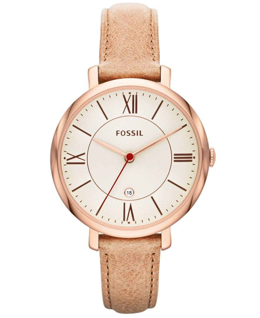 a7e9a6487da Fossil Women s Jacqueline Sand Leather Strap Watch 36mm ES3487 - Fossil -  Jewelry   Watches - Macy s