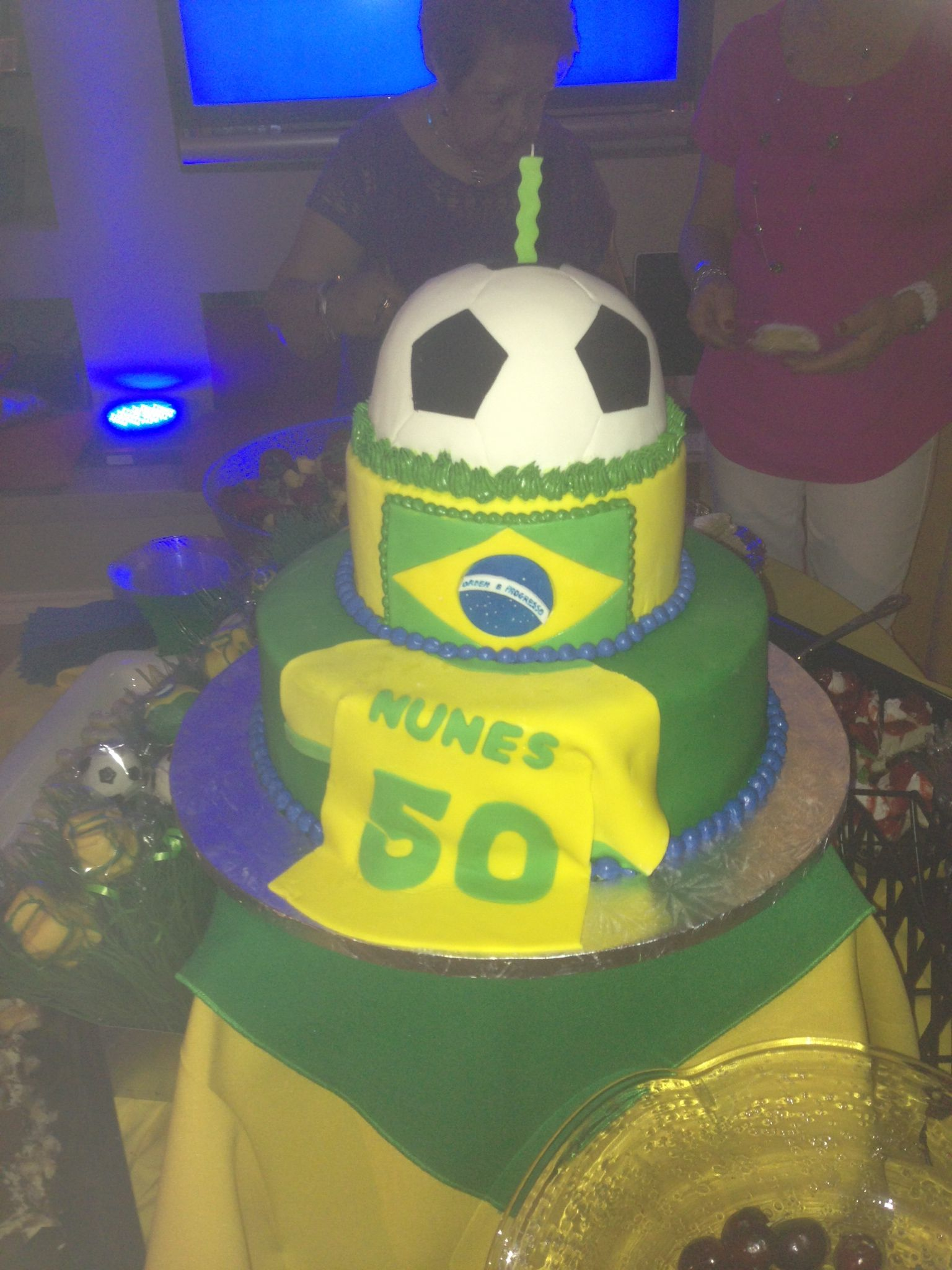 Awesome Brazilian Soccer Cake Futebol Brasilero Soccer Cake Soccer Funny Birthday Cards Online Inifodamsfinfo