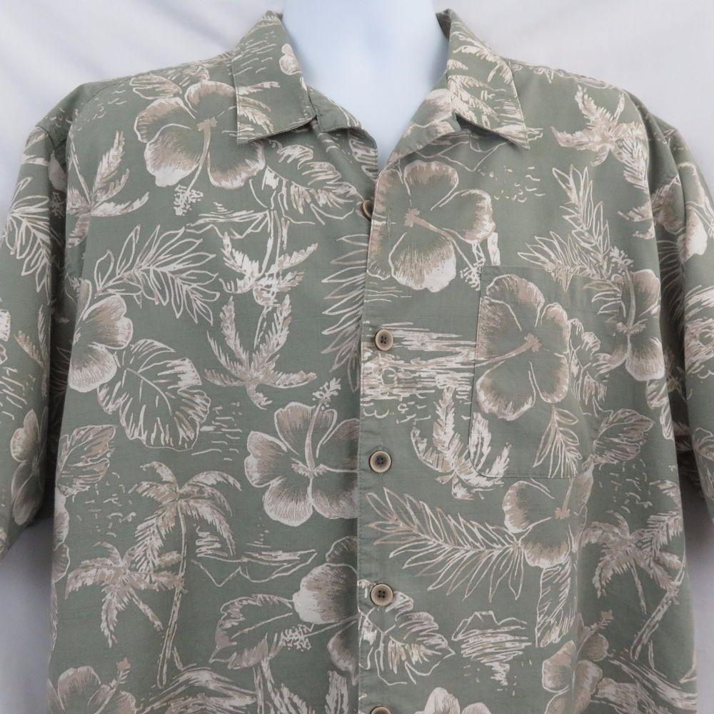 84816ec5 OP Moss Sage Green Palm Tree Floral Large Aloha Hawaiian Shirt EUC #Op # Hawaiian