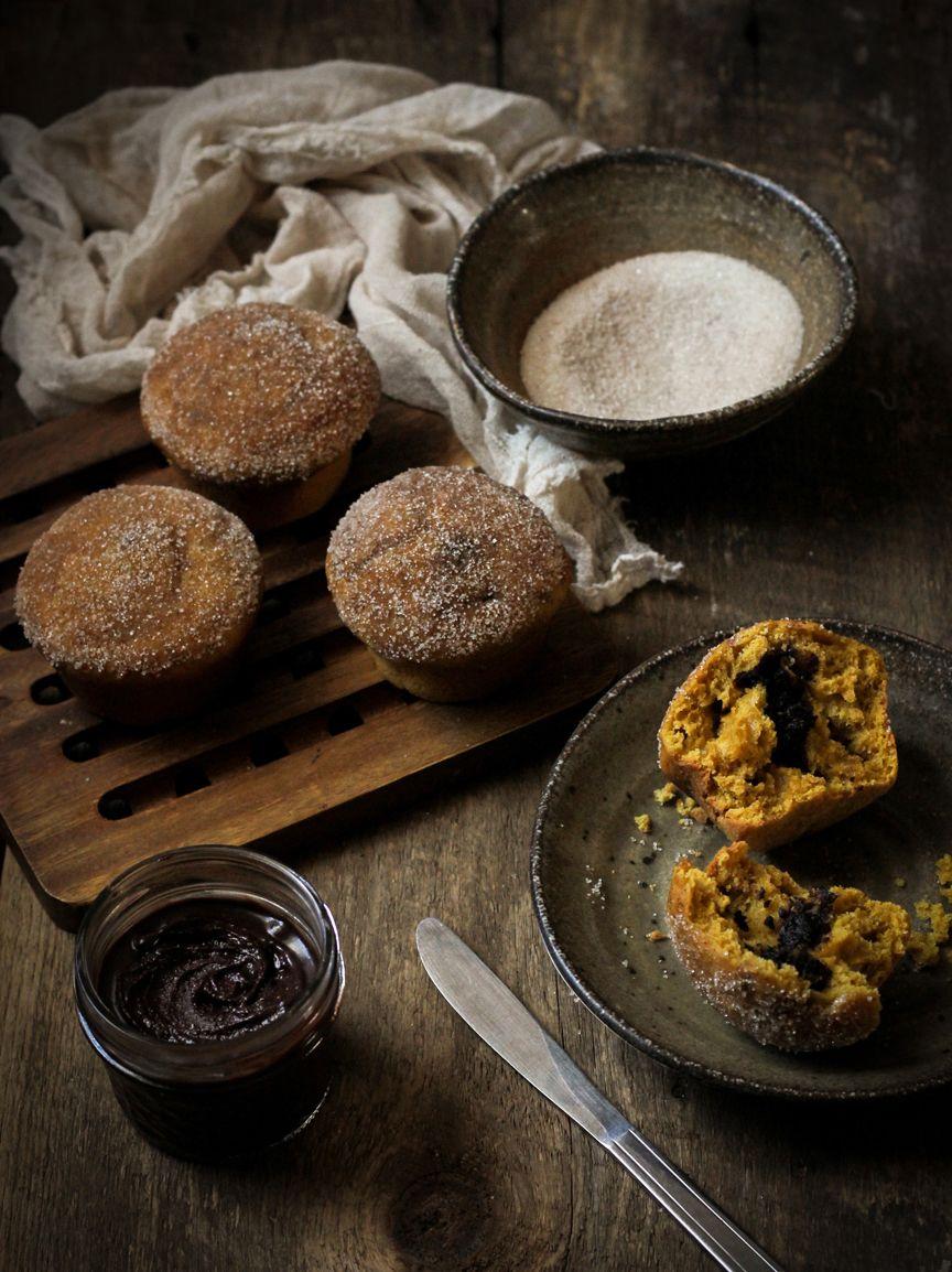 Pumpkin Doughnut Muffins Filled With Nutella