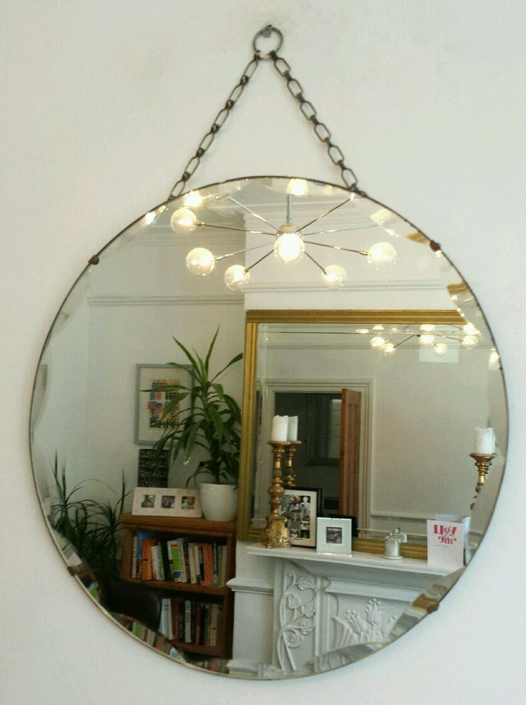 Vintage Round Multi Beveled Mirror Art Deco 1930u0027s Retro Frameless Antique