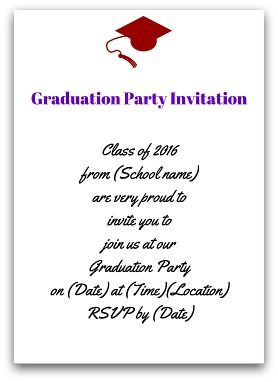 Selection of graduation invitation wording for Commencement