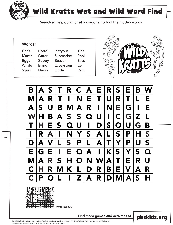 Wild Kratts Wet Amp Wild Word Find Wildkratts Pbskids