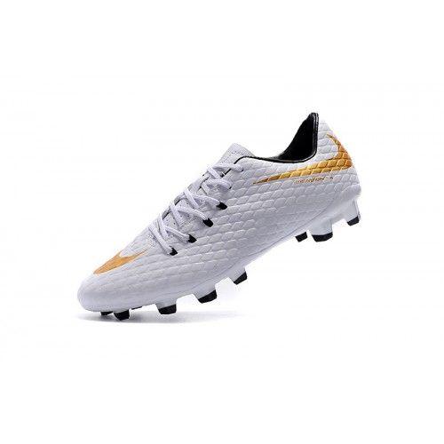 promo code 44d3d 1d6fb Barato Nike Hypervenom III FG Blanco Oro Botas De Futbol
