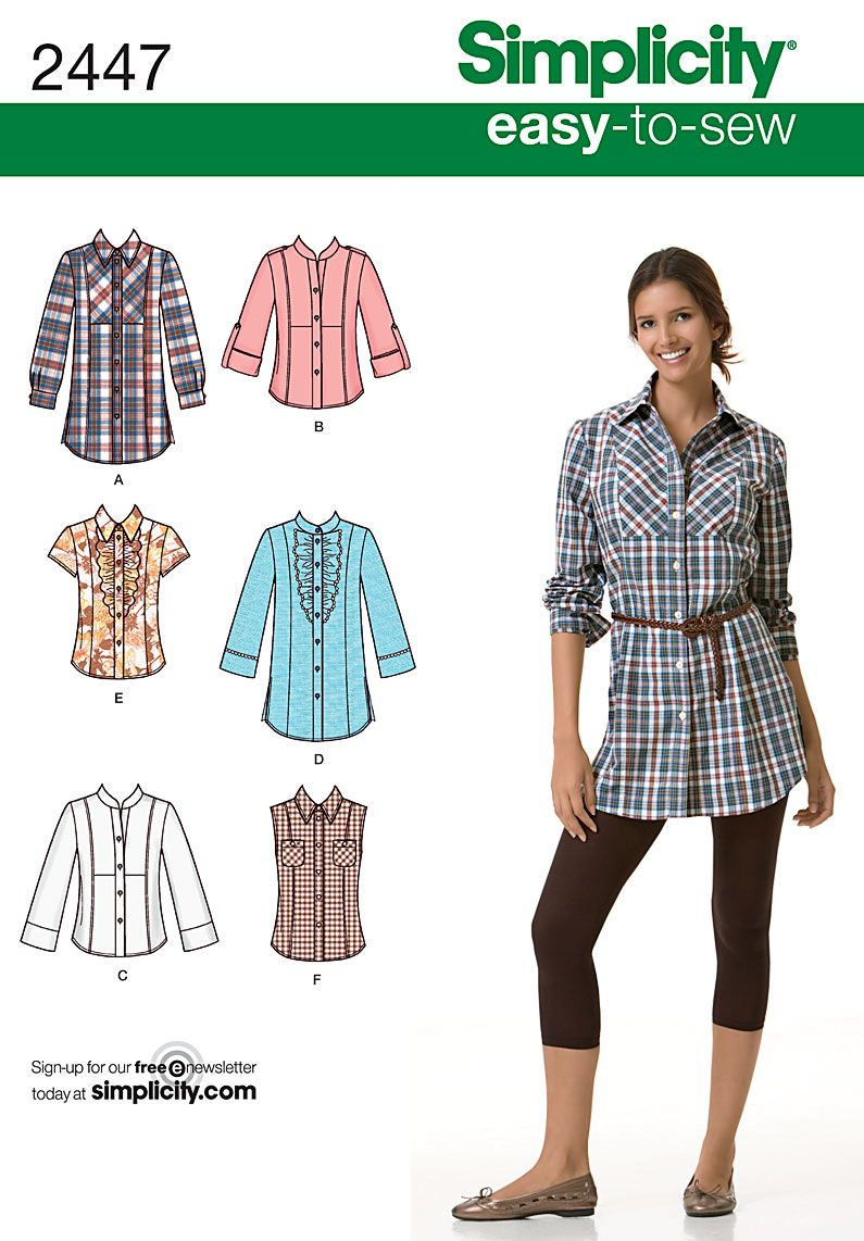 Womens Shirt Easy Sewing Pattern 2447 Simplicity Easy To