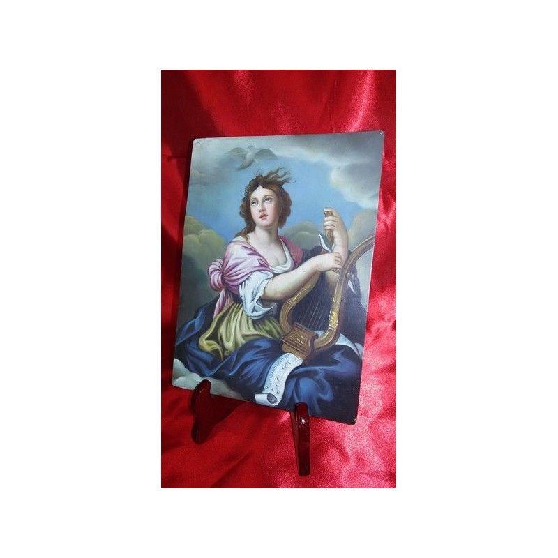 Dipinto olio su rame - suonatrice di liuto - '800 - Antichità S. Andrea