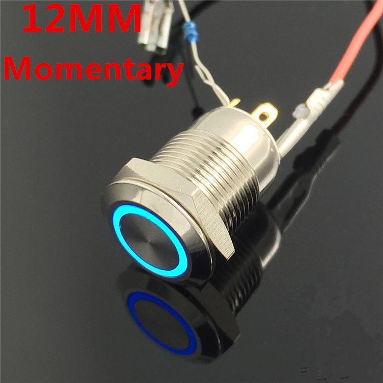 1pcs 12mm waterproof momentary flat round stainless steel metal push  1pcs 12mm waterproof momentary flat round stainless steel metal push button switch colorful led light shine car horn auto reset
