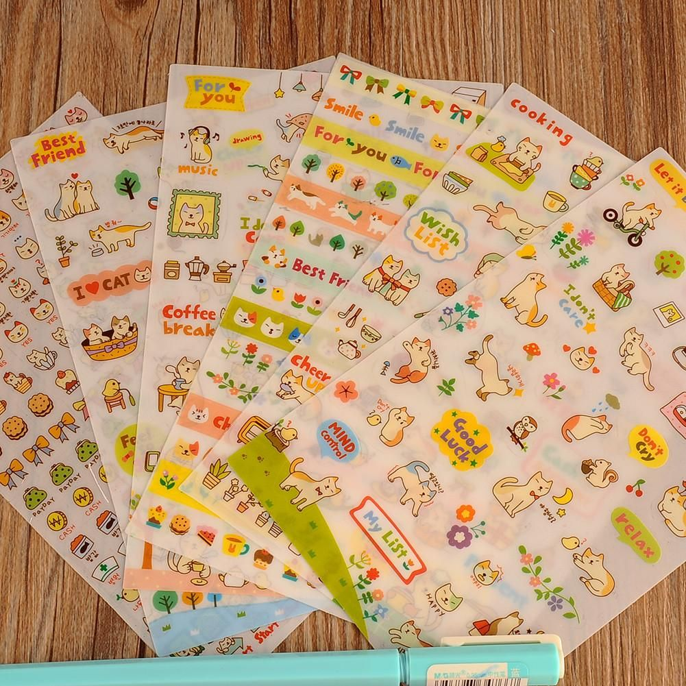 New Cute Lovely 6 Sheet Cat Paper Stickers for Diary Scrapbook Book ...