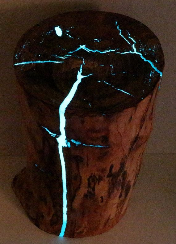 stump table glow in the dark resin reclaimed wood table. Black Bedroom Furniture Sets. Home Design Ideas