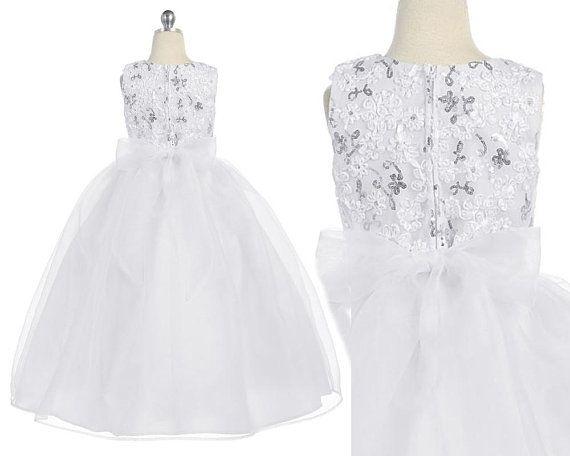 2e50f14eb43 Robe de cérémonie pour fille taille 2 à 16 ans en dentelle et organza  couleur blanc