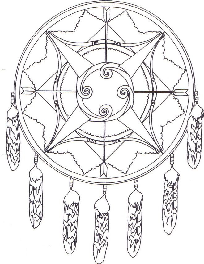 Kids N Fun Coloring Page Native Americans Native Americans Dream Catcher Coloring Pages Mandala Coloring Pages Cool Coloring Pages