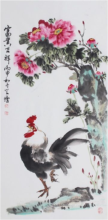 a3fd72069 Floral paintings Modern art famous artists Chinese painting Original Peony Flower  Painting - US $232.00