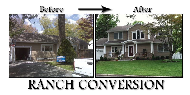 Before and after ranch homes nj home improvement for Raised ranch addition plans
