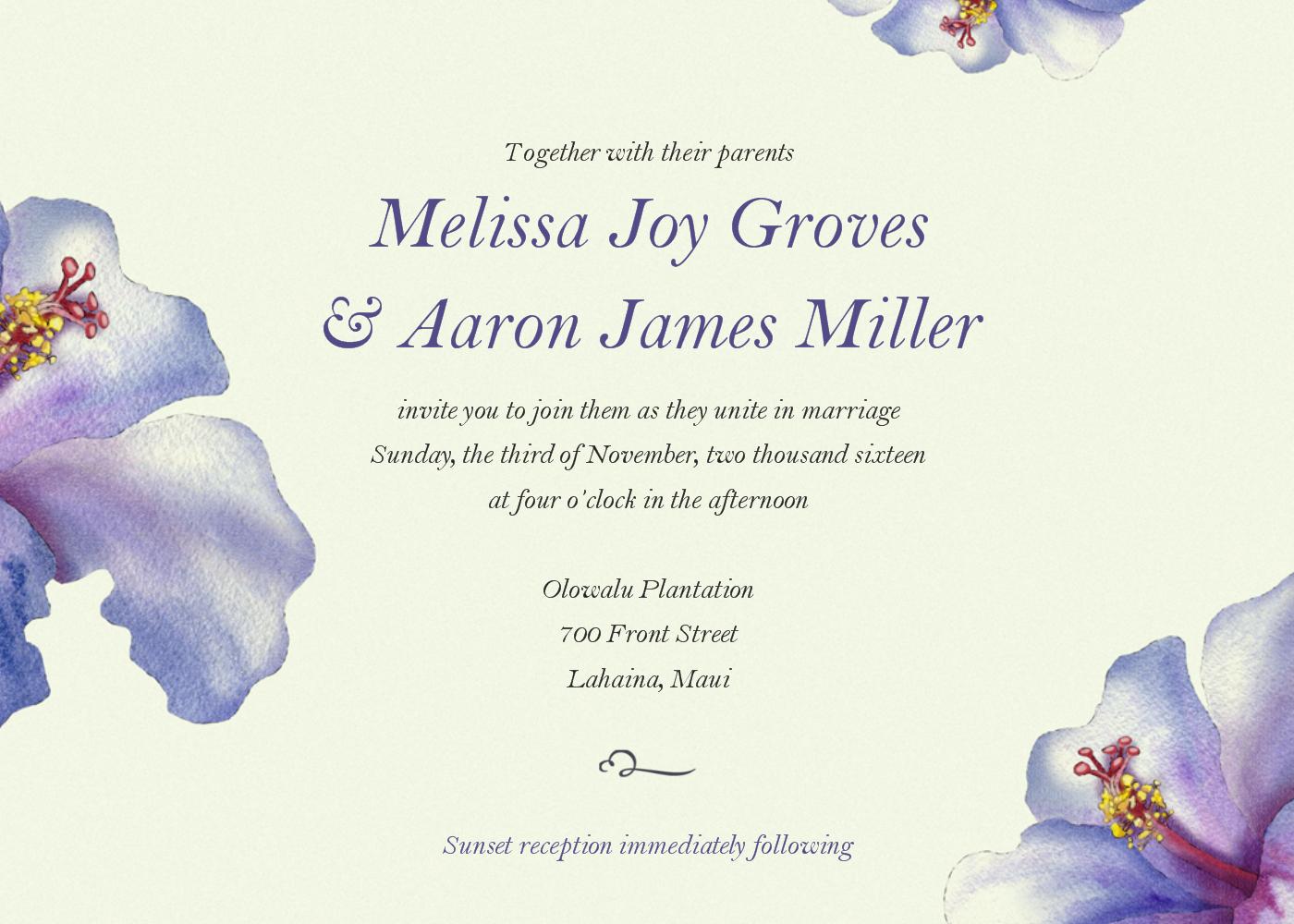 This island inspired 5x7 wedding invitation features purple ...