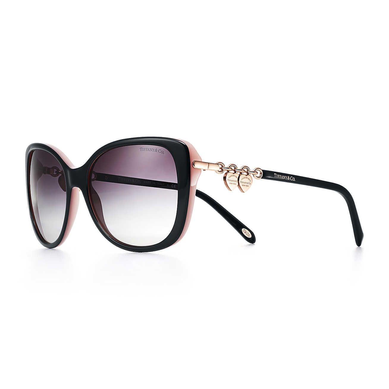 481c6888fb1 Return to Tiffany® rectangular sunglasses in black and pink acetate.