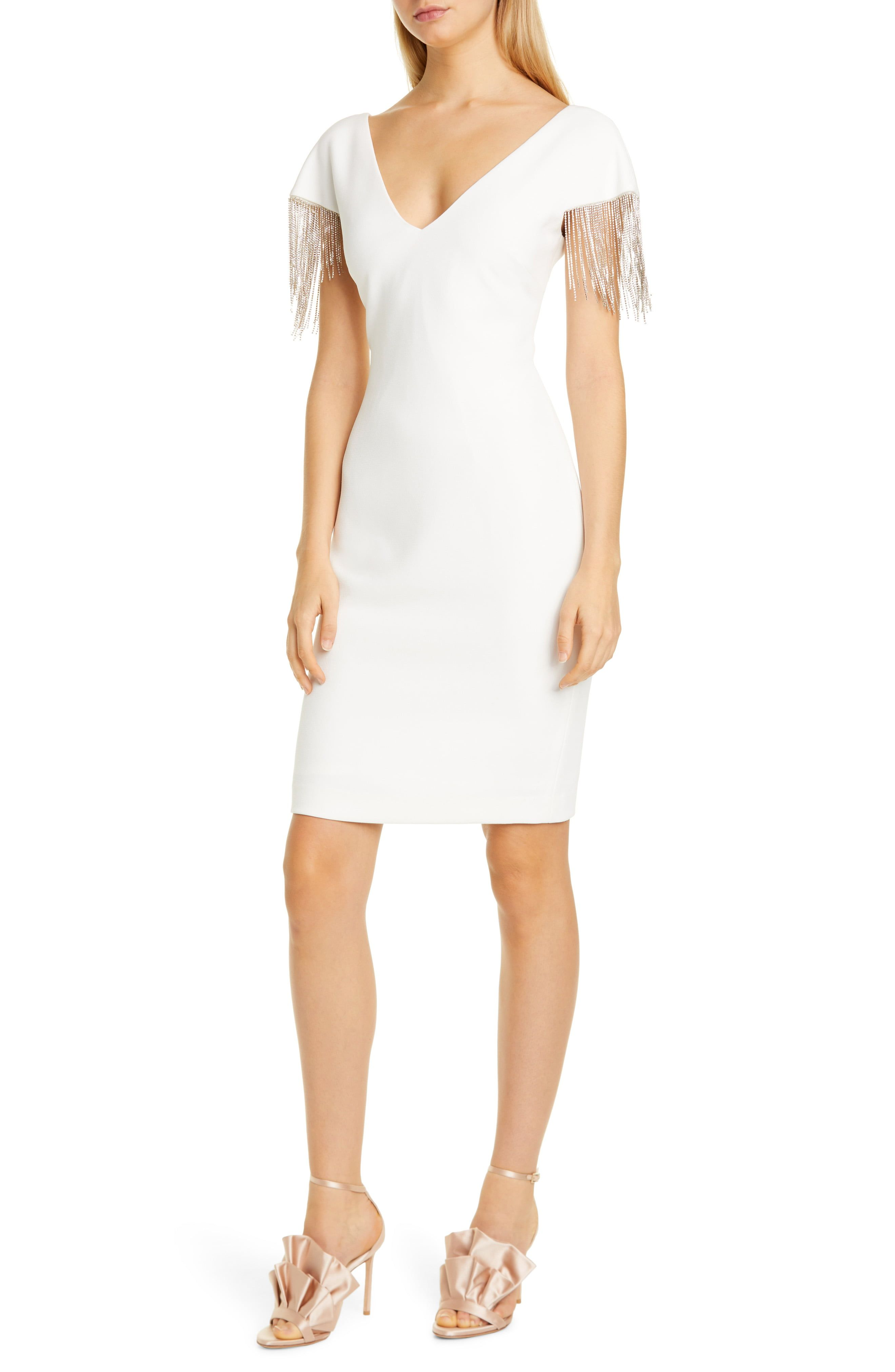 Badgley Mischka Chain Detail Crepe Cocktail Dress Nordstrom Fashion Clothes Women Nordstrom Dresses Prom Dresses With Sleeves [ 4048 x 2640 Pixel ]