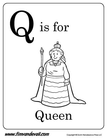 Q is for Queen | Letter Q Coloring Page | Alphabet Book - Black ...