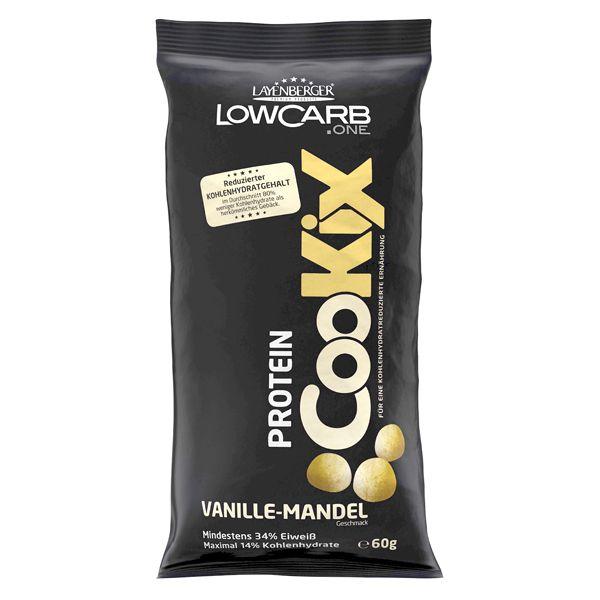 LAYENBERGER CooKix Protein Vanille Mande sind kleine, knusprig leckere Gebäckstücke mit einem hohen Eiweiß- und einem stark reduzierten Kohlenhydratgehalt. Aufgrund des hohen Eiweißgehalts sättigen die LowCarb.one Protein-CooKix lange. Die schmackhafte Art, erhöhten Eiweißbedarf zu decken. Ob zum süßen Naschen vor dem Fernseher, im Büro oder unterwegs mit Freunden. So snackt man heute.